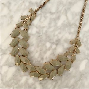 Olive green leaf statement necklace